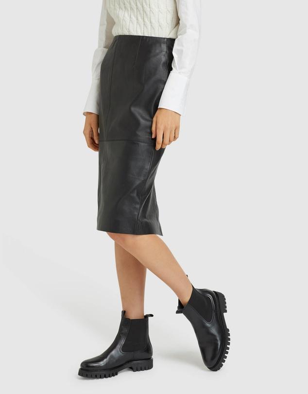 Women Harlow Leather Pencil Skirt