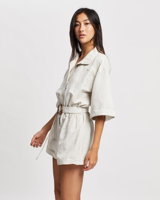 ARIS Collared Linen Playsuit - Jumpsuits & Playsuits (Stone)