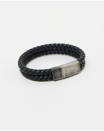 Double Leather Weave Bracelet - Aged Steel Clasp