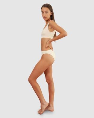 BAYTHE - Ribbed Movement Swim Crop Bikini Set (Cream)