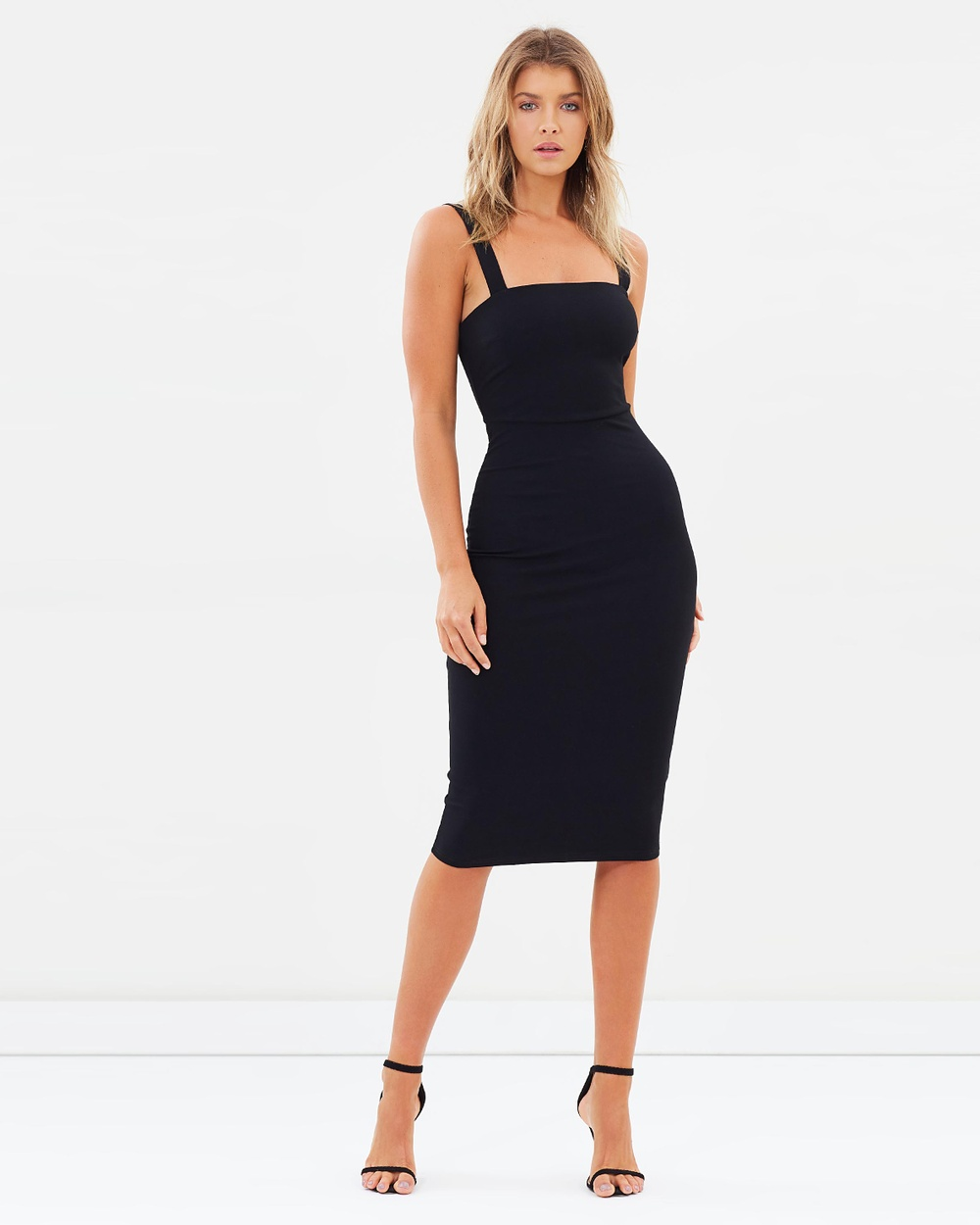 Atmos & Here ICONIC EXCLUSIVE Khloe Midi Dress Bodycon Dresses Black ICONIC EXCLUSIVE Khloe Midi Dress