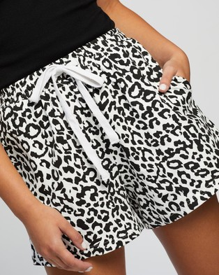 Atmos&Here Vicki Relaxed Shorts - High-Waisted (Black & White Animal)