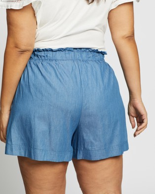 Atmos&Here Curvy Alessia Chambray Shorts - High-Waisted (Chambray)