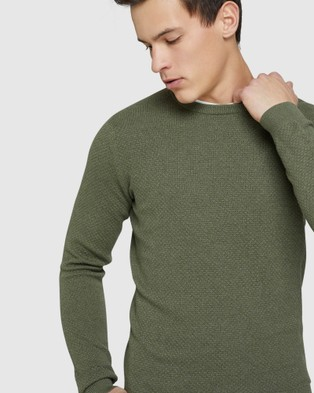 Oxford Riley Textured Crew Neck Pullover - Jumpers & Cardigans (Green)