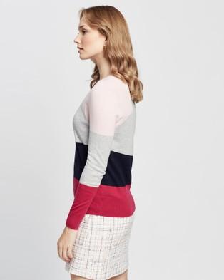 Marcs Palette Colour Block Knit Jumpers & Cardigans Navy Berry Colour-Block