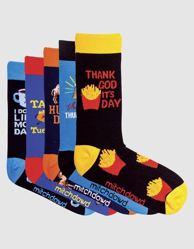 Men Work Week Blues 5 Pack Socks