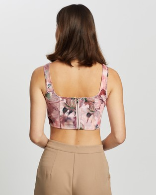 Missguided Floral Corset Top - Cropped tops (Pink)