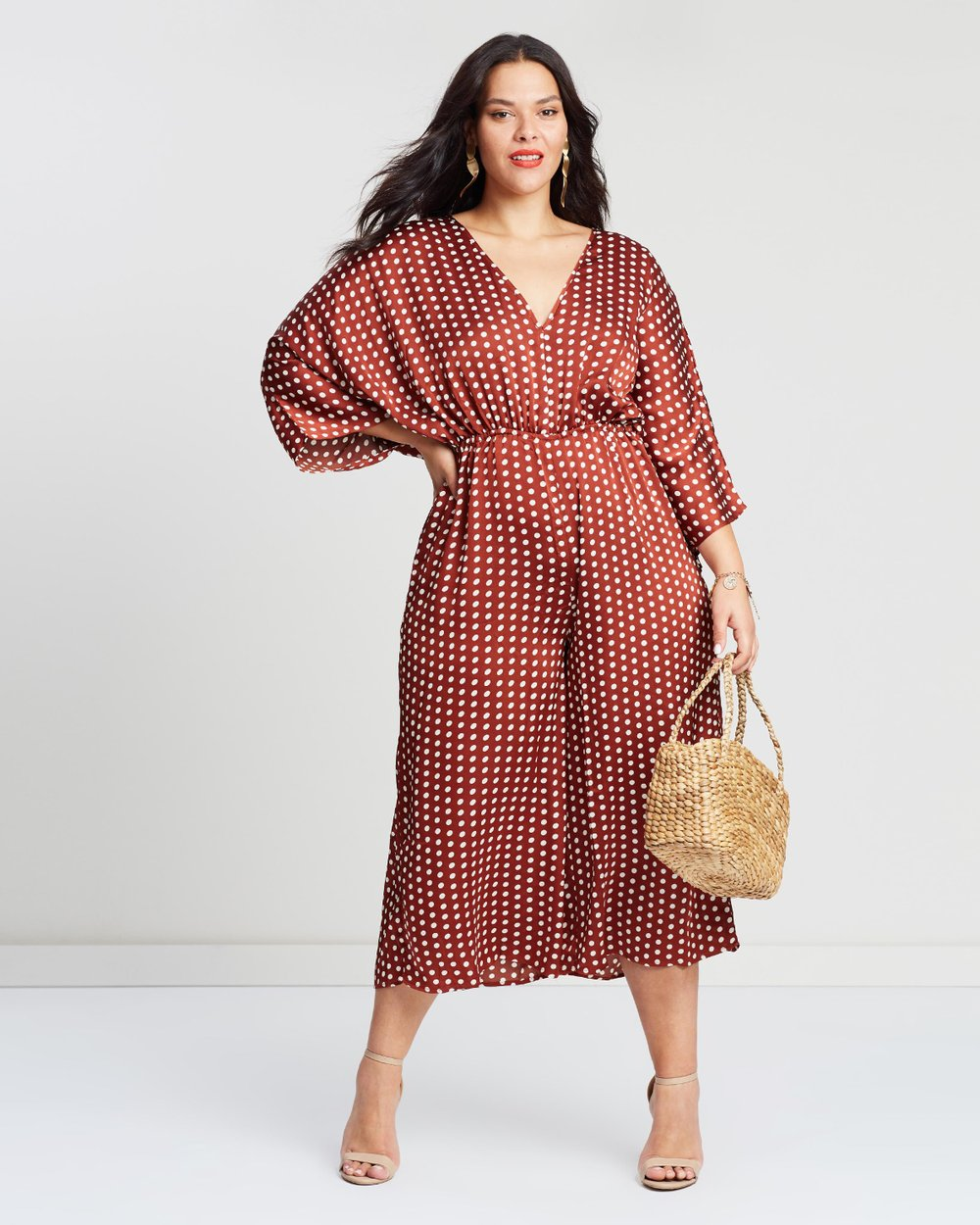 0f216c9448b Kimono Sleeve Polka Dot Culotte Jumpsuit by Missguided Curve Online ...
