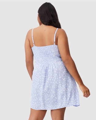 Cotton On Curve Woven Kendall Dress - Dresses (Stella Daisy & Powder Blue)
