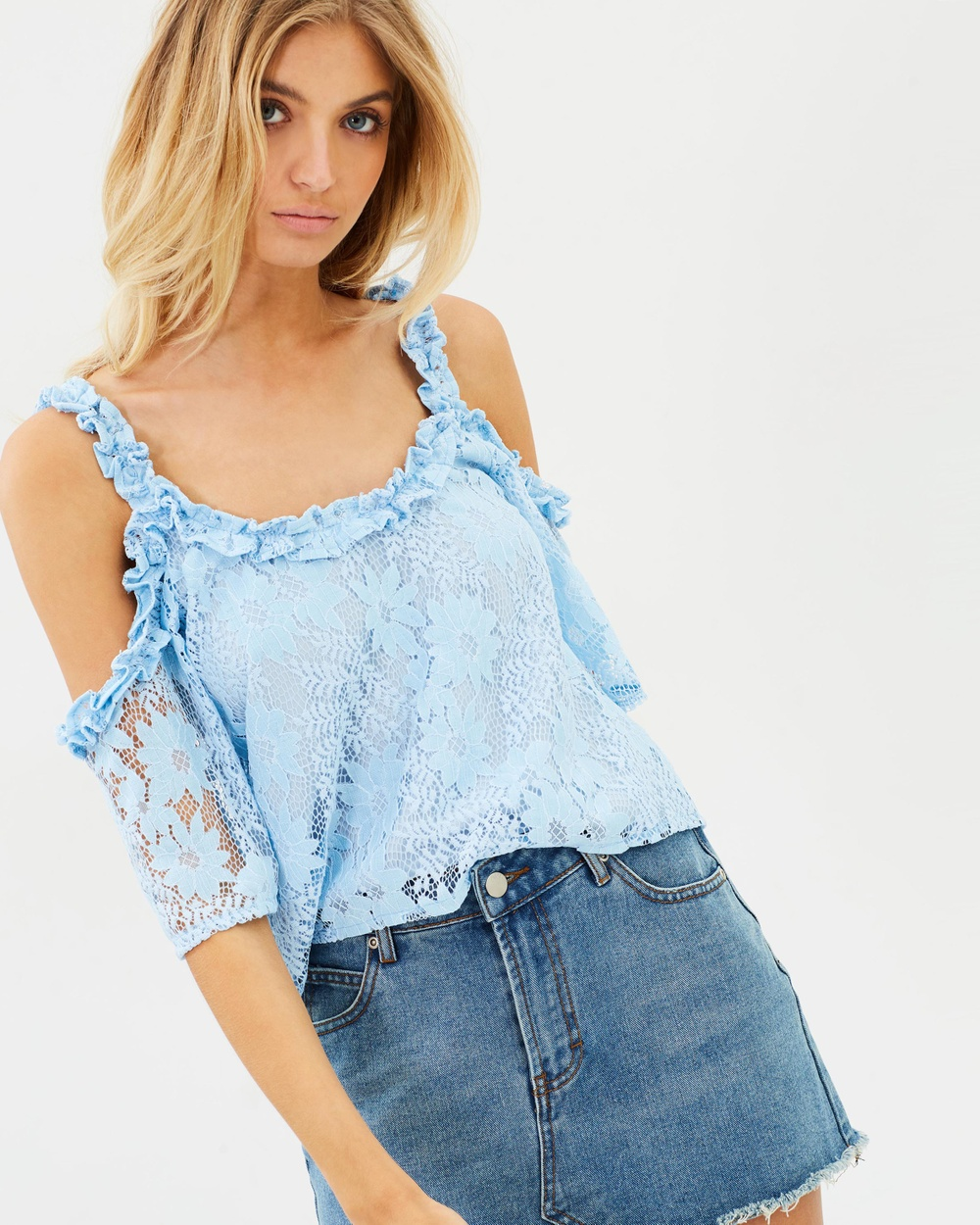 Atmos & Here ICONIC EXCLUSIVE Lola Lace Cold Shoulder Top Tops Powder Blue ICONIC EXCLUSIVE Lola Lace Cold Shoulder Top