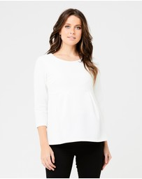 Ripe Maternity - Waffle Peplum Top With Sleeves