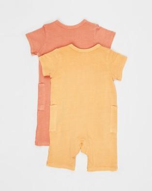 Cotton On Baby 2 Pack Beau Playsuit   Babies - Bodysuits (Apricot Sun & Dust Storm)
