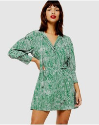 TOPSHOP Petite - Animal Pintuck Shirt Dress