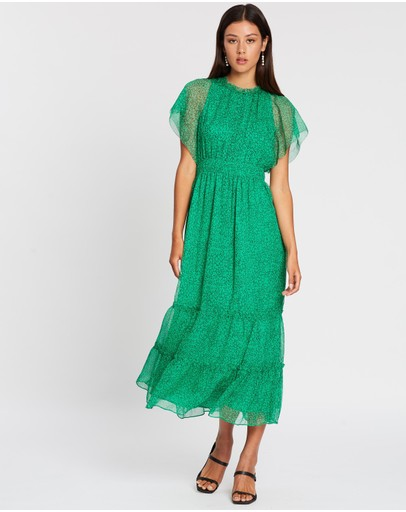 Whistles Sketched Floral Frill Sleeve Dress Green Multi