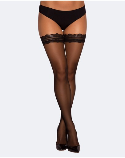 Bras N Things Lace Top Stay Up Stockings Black