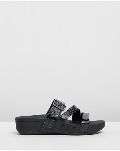 Vionic Rio Platform Sandals Black Woven