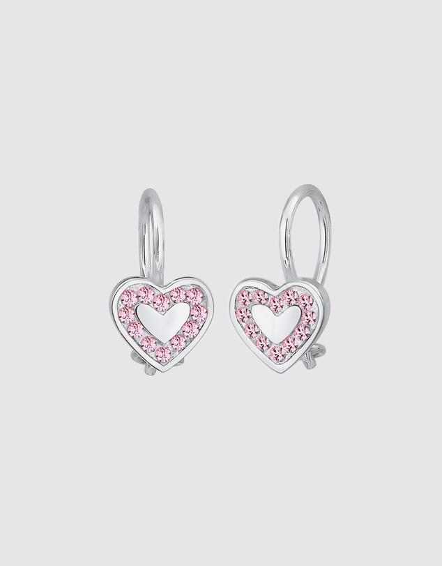 Kids Earrings Children Heart Love Crystals Pink 925 Sterling Silver