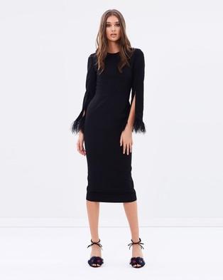Isla – Dark Energy Long Sleeve Midi Dress – Bodycon Dresses (Black)