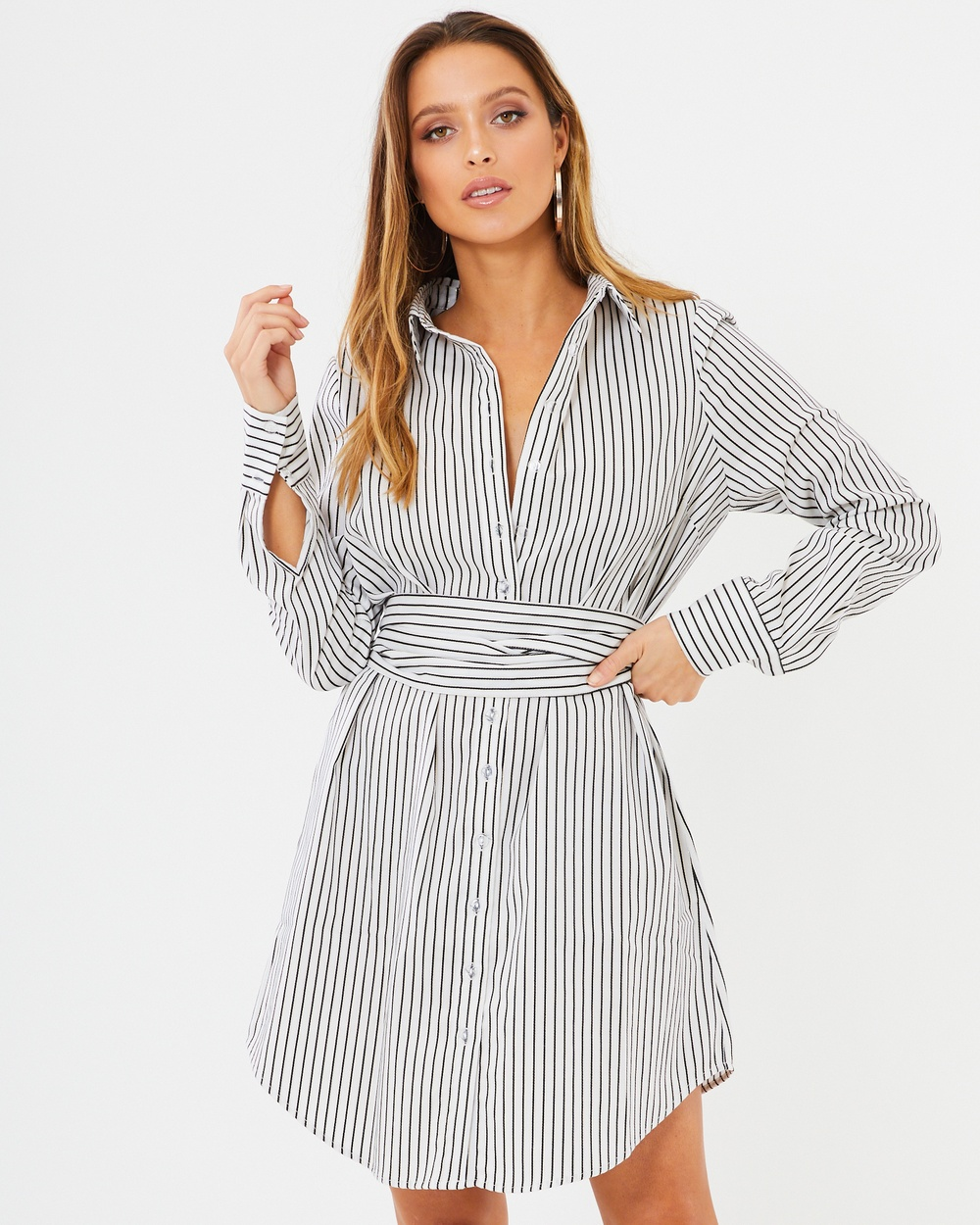 Calli Luella Shirt Dress Dresses Black Stripe Luella Shirt Dress