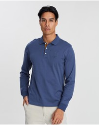 Kent and Curwen - Contrast Placket Long Sleeve Polo Shirt