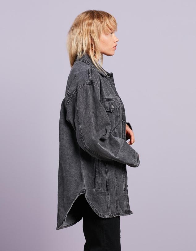 Women Oversized Curve Hem Denim Shirt Jacket