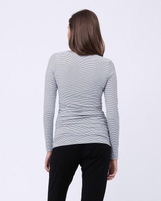 Ripe Maternity - Organic Stripe Nursing Tee - Long Sleeve T-Shirts (Stripe - Print) Organic Stripe Nursing Tee