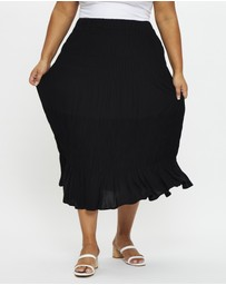 You & All - Plus Smocking Detail Maxi Skirt