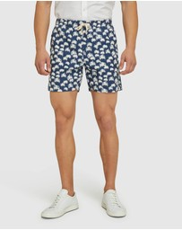 Oxford - Toby Palm Tree Linen Cotton Shorts