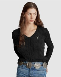 Kimberly Cable Cotton V-Neck Sweater