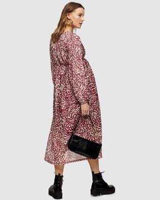 TOPSHOP Maternity - Animal Print Smock Midi Dress - Printed Dresses (Pink) Animal Print Smock Midi Dress