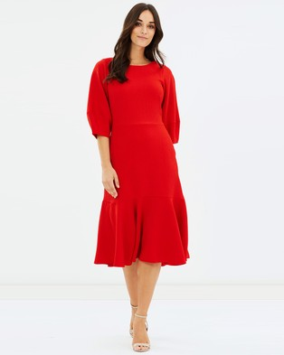 Closet London – Lantern Sleeve Peplum Hem Dress Red