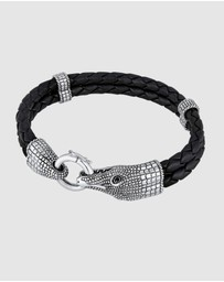 Kuzzoi - Bracelet Kuzzoi Men Buddha Leather Braided Black Oxide crocodile head 925 Sterling Silver