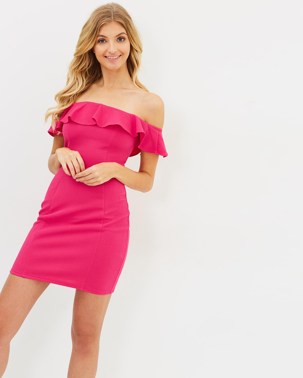 Atmos & Here ICONIC EXCLUSIVE Gisella Off Shoulder Dress Bodycon Dresses Fuchsia ICONIC EXCLUSIVE Gisella Off-Shoulder Dress