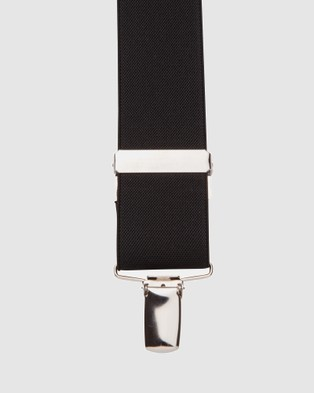 Buckle Plain 25mm X Back Braces with Nickel Clip - Suspenders (Black)