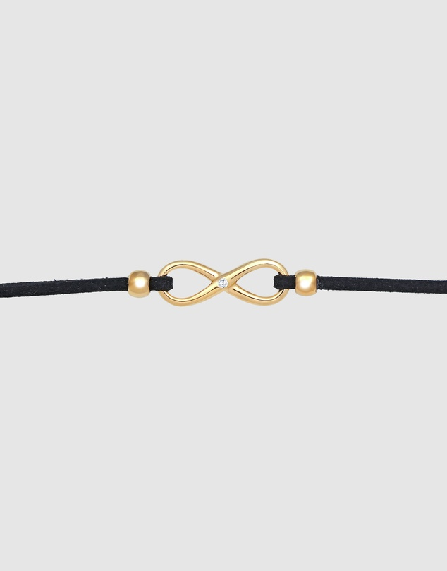 Women Necklace Choker Infinity Leather synth. with Zirconia Crystals in 925 Sterling Silver