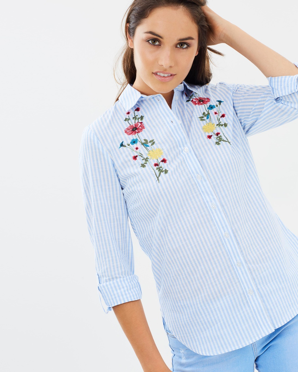 Dorothy Perkins Embroidered Stripe Shirt Tops Pale Blue Embroidered Stripe Shirt