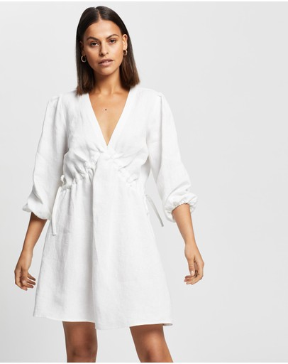 AERE - Linen Mini Dress With Tie Sides