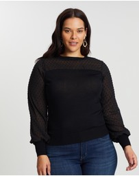 Atmos&Here Curvy - ICONIC EXCLUSIVE - Diana Sheer Polka Dot Top