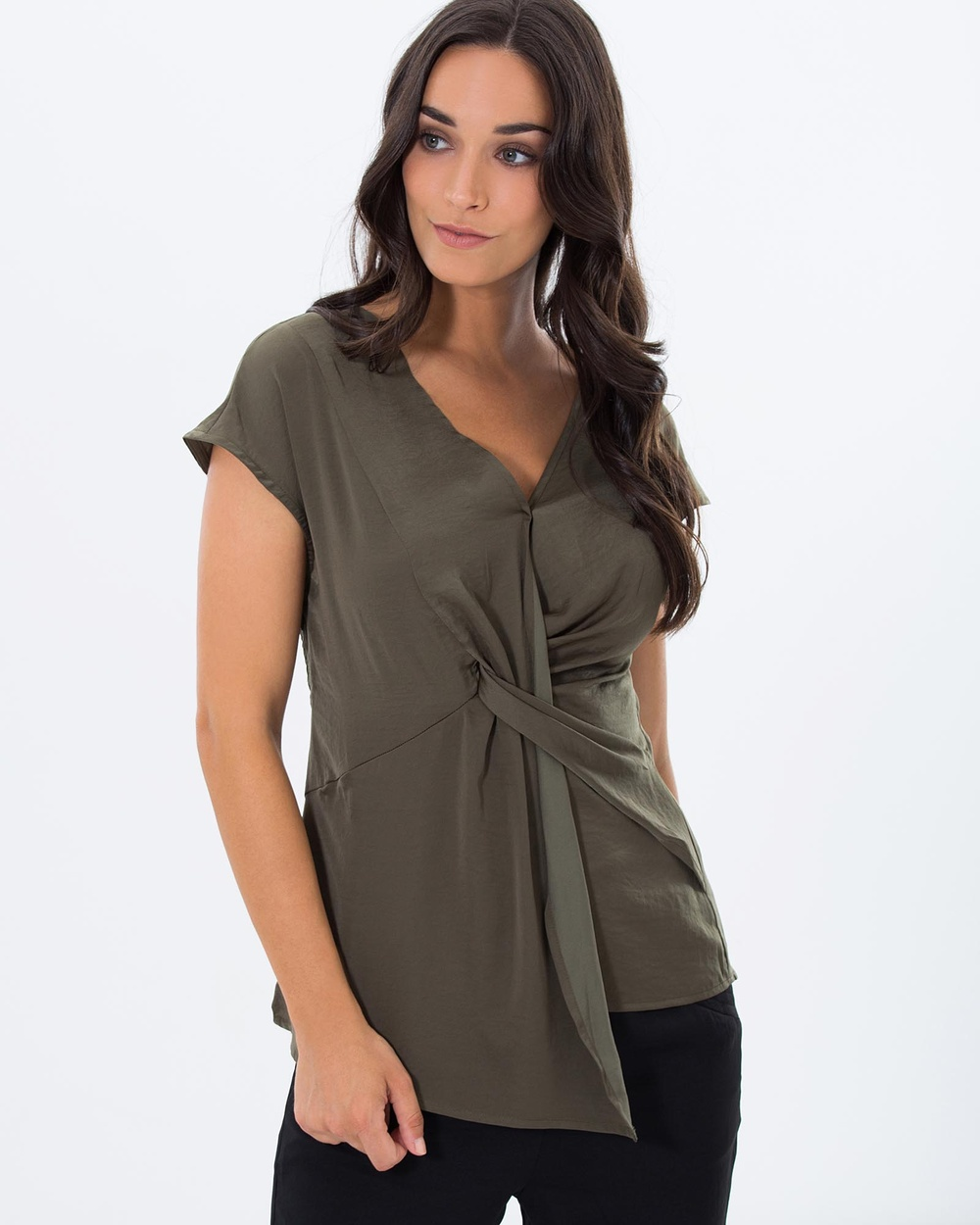 Privilege Hamilton Twist Top Tops Olive Hamilton Twist Top