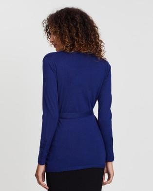 Angel Maternity Maternity Lightweight Wool Wrap Cardigan - Jumpers & Cardigans (Blue & Black)