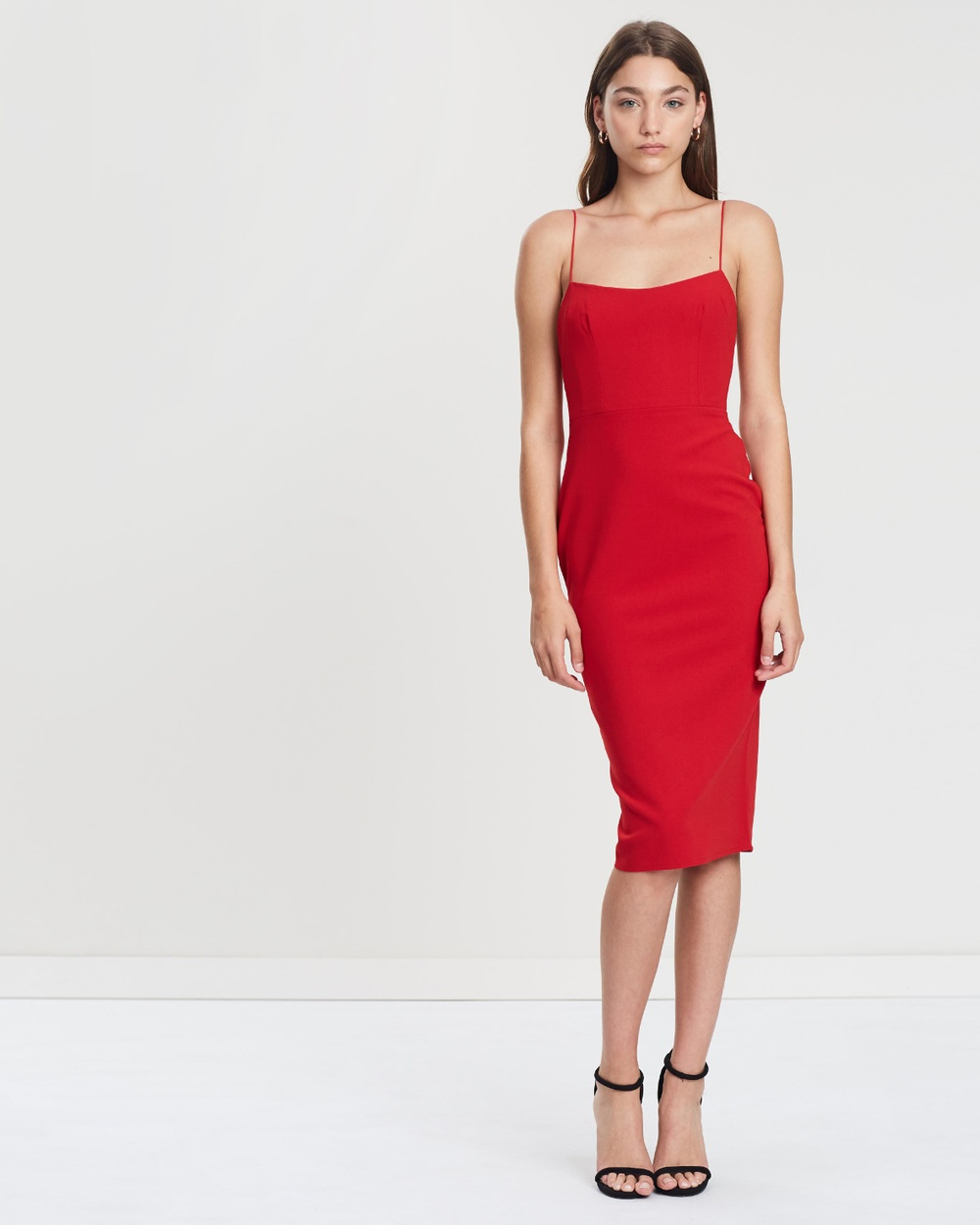 Alex Perry Red Zane Stretch Singlet Lady Dress