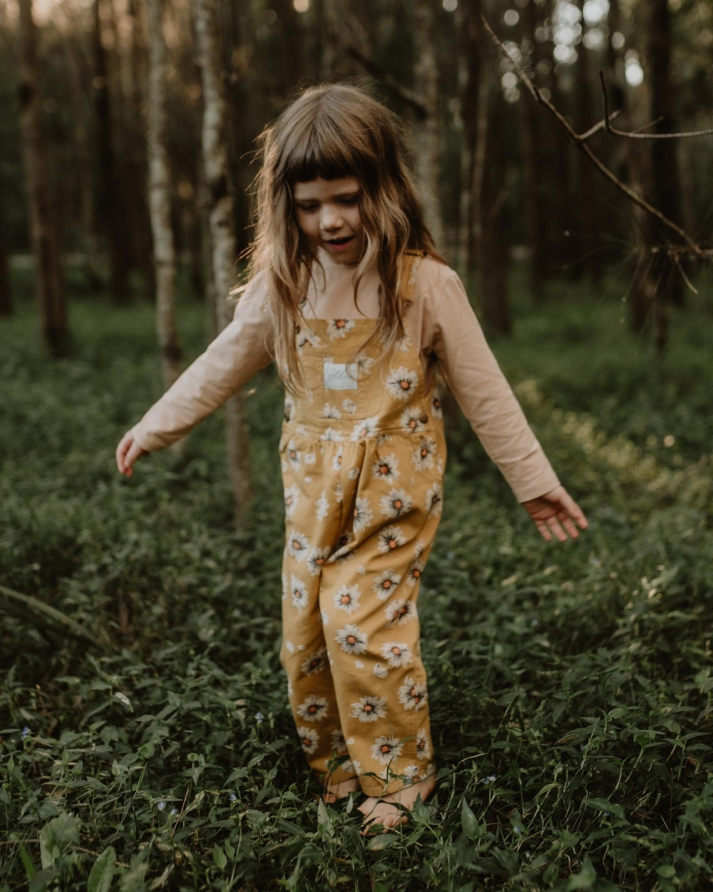 Goldie + Ace THE ICONIC EXCLUSIVE Vintage Wash Daisies Denim Overalls Babies Kids Jumpsuits & Playsuits Yellow Babies-Kids Australia