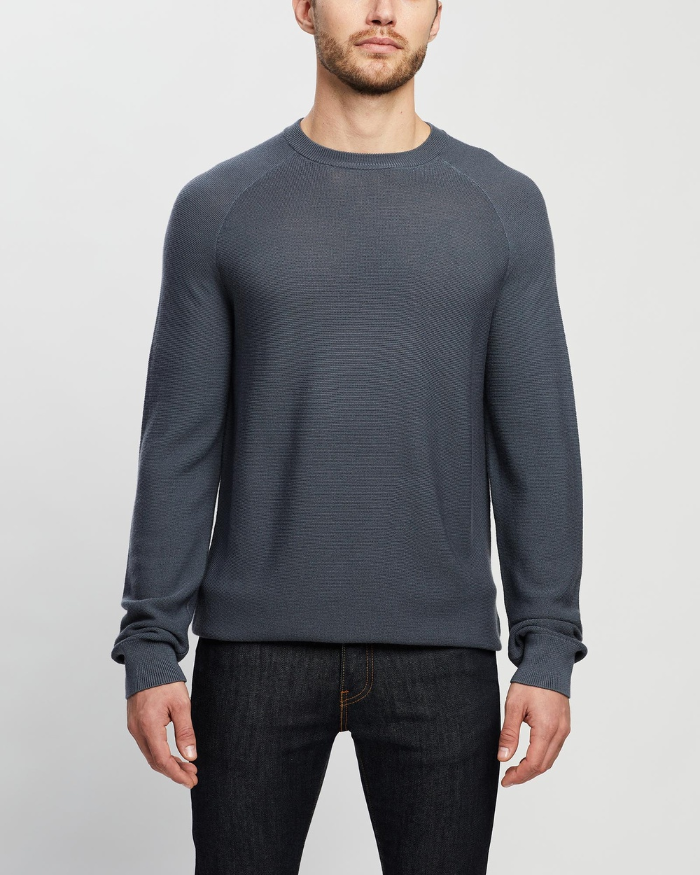 3 Wise Men The Rufus Lambswool Knit Jumpers & Cardigans Slate Grey