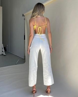 Dazie Hot Goss Utility Jeans - High-Waisted (White)