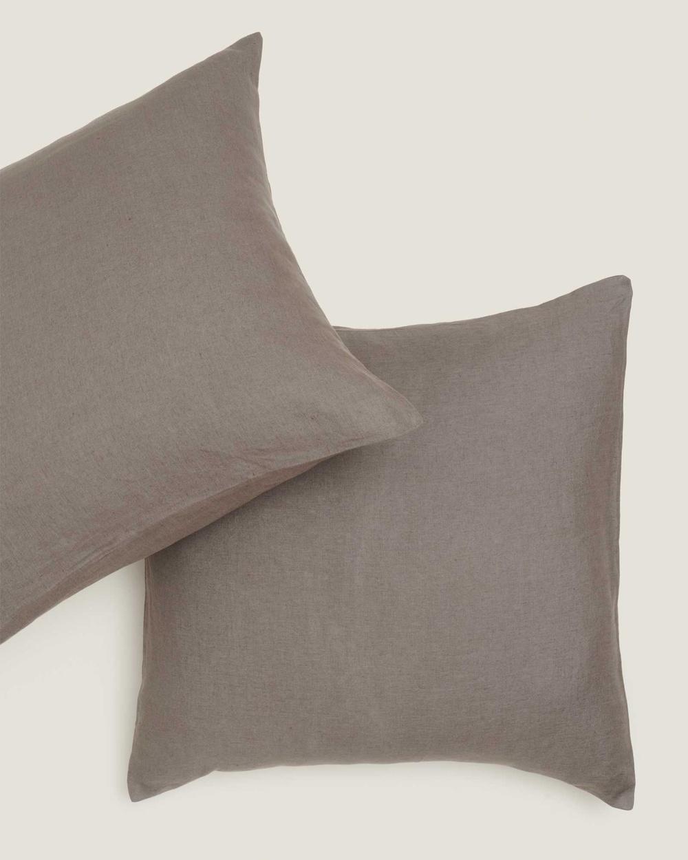 Carlotta + Gee 100% Linen European Pillowslip Set Home Grey Australia