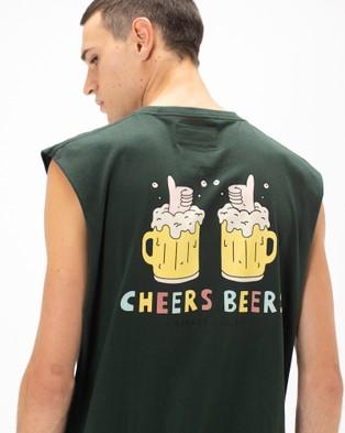 Barney Cools - Cheers Beers Muscle Tee - Muscle Tops (Forest) Cheers Beers Muscle Tee