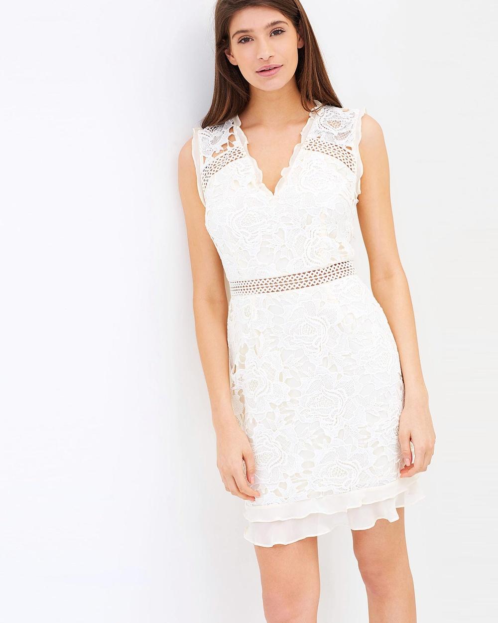 Cooper St Lustrous Lace V Neck Dress Bodycon Dresses Coconut Milk Lustrous Lace V-Neck Dress