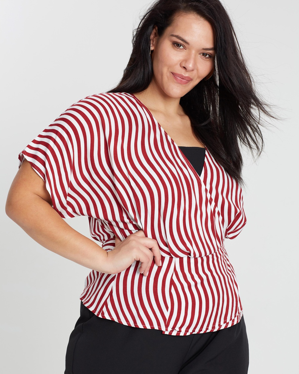 Atmos & Here Curvy ICONIC EXCLUSIVE Katie Wrap Top Tops Curvy Stripe ICONIC EXCLUSIVE Katie Wrap Top