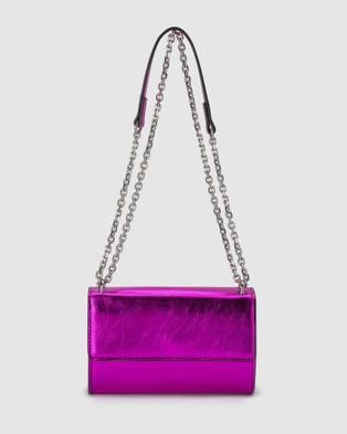 Olga Berg Lola Crinkle Metallic Foil Shoulder Bag - Handbags (Fuchsia)