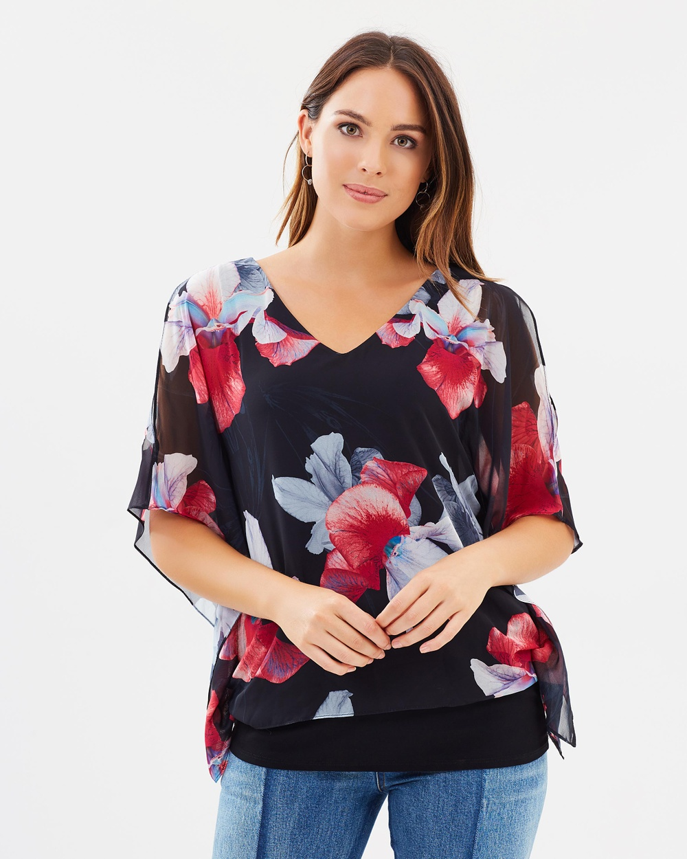 Wallis Orchid Double Layer Top Tops Black Orchid Double Layer Top